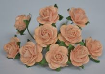 1.5cm PALE PEACH Mulberry Paper Roses